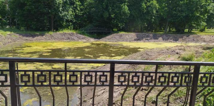 Всё-таки пригнали в парк в городе Пружаны другой экскаватор(на гусеницах) и теперь пруд выглядит так