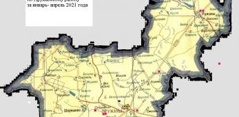 Карта укусов клещей по Пружанскому району за январь - апрель 2021 года