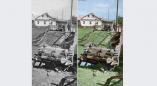 Фотофакт: 1941г, Ружаны, дереянный мост не выдержал и немецкий танк рухнул в реку