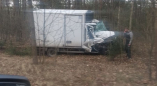 На трассе Видомля-Пружаны трактор перевернут, прицеп дров на трассе, фургон сошел с дороги