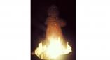 Ля Буцькоўскага ідала ў Пружанах запалілі вогнішча каб даў моцы шчырым мужным людзям у гэты час